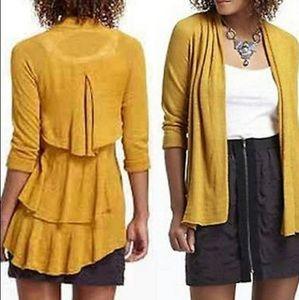 Anthropologie Mustard Ruffle Sweater Cardigan S
